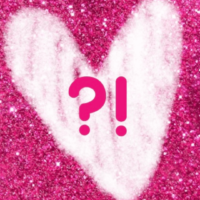 Image of a Pink Glitter Background with A heart graphic and a question mark and exclamation mark inside
