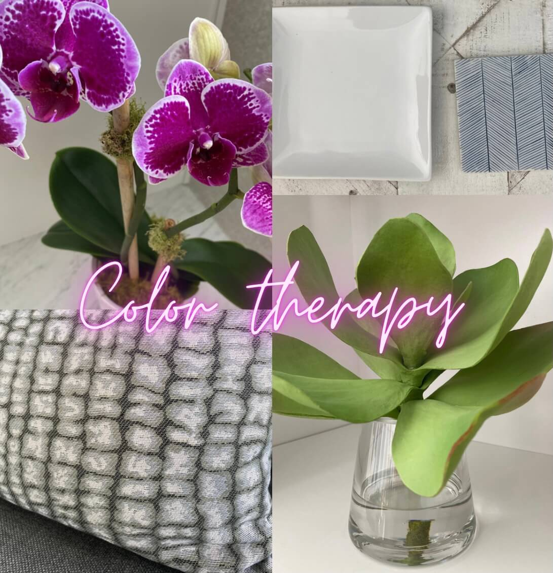 Images of Different color decor with color therapy written across images in word art