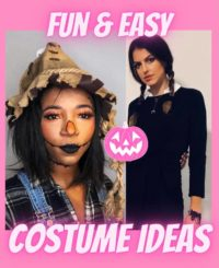 Image of Sara and Maddie dressed up in halloween costumes wit fun and easy costume ideas written across both images